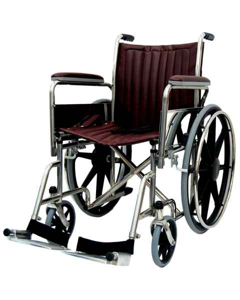 "18"" Wide Non-Magnetic Wheelchair with Fixed Footrest & Removable Arms"