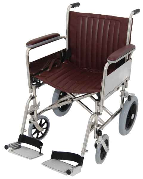 "20"" Wide Non-Magnetic Transport Chair With Detachable Footrests"