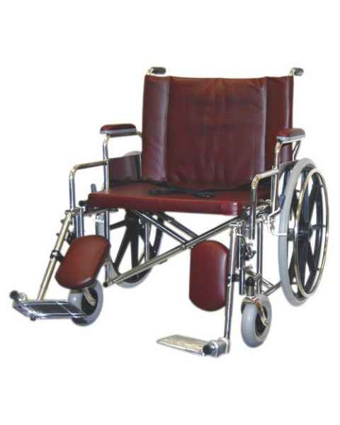 "24"" Wide Bariatric Non-Magnetic Wheelchair with Detachable Elevating Legrests"