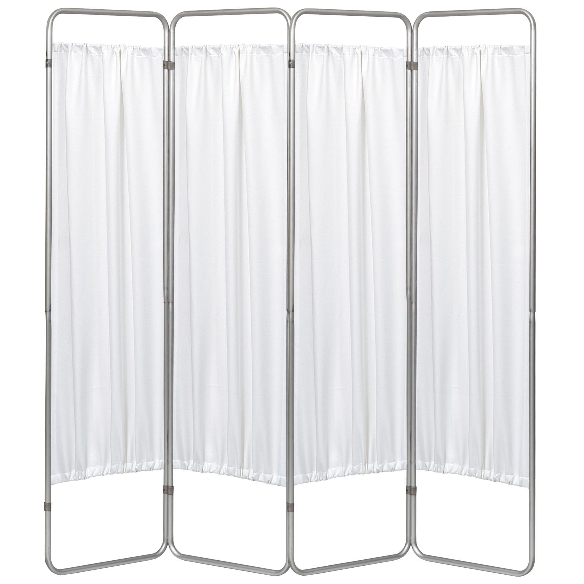 Economy 4 Section Folding Privacy Screen - White Vinyl Screen Panel