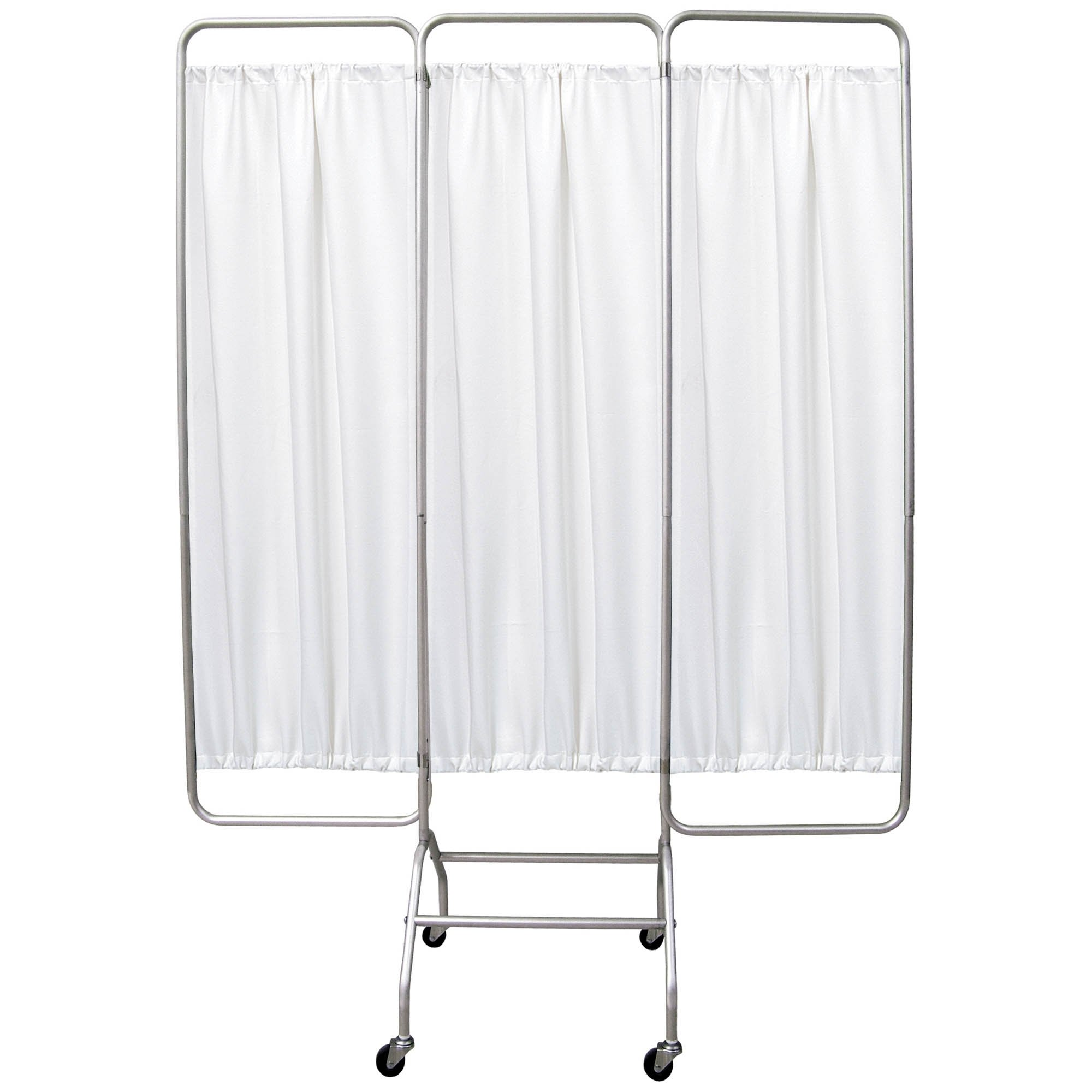 Mobile 3 Section Folding Privacy Screen - White Vinyl Screen Panel