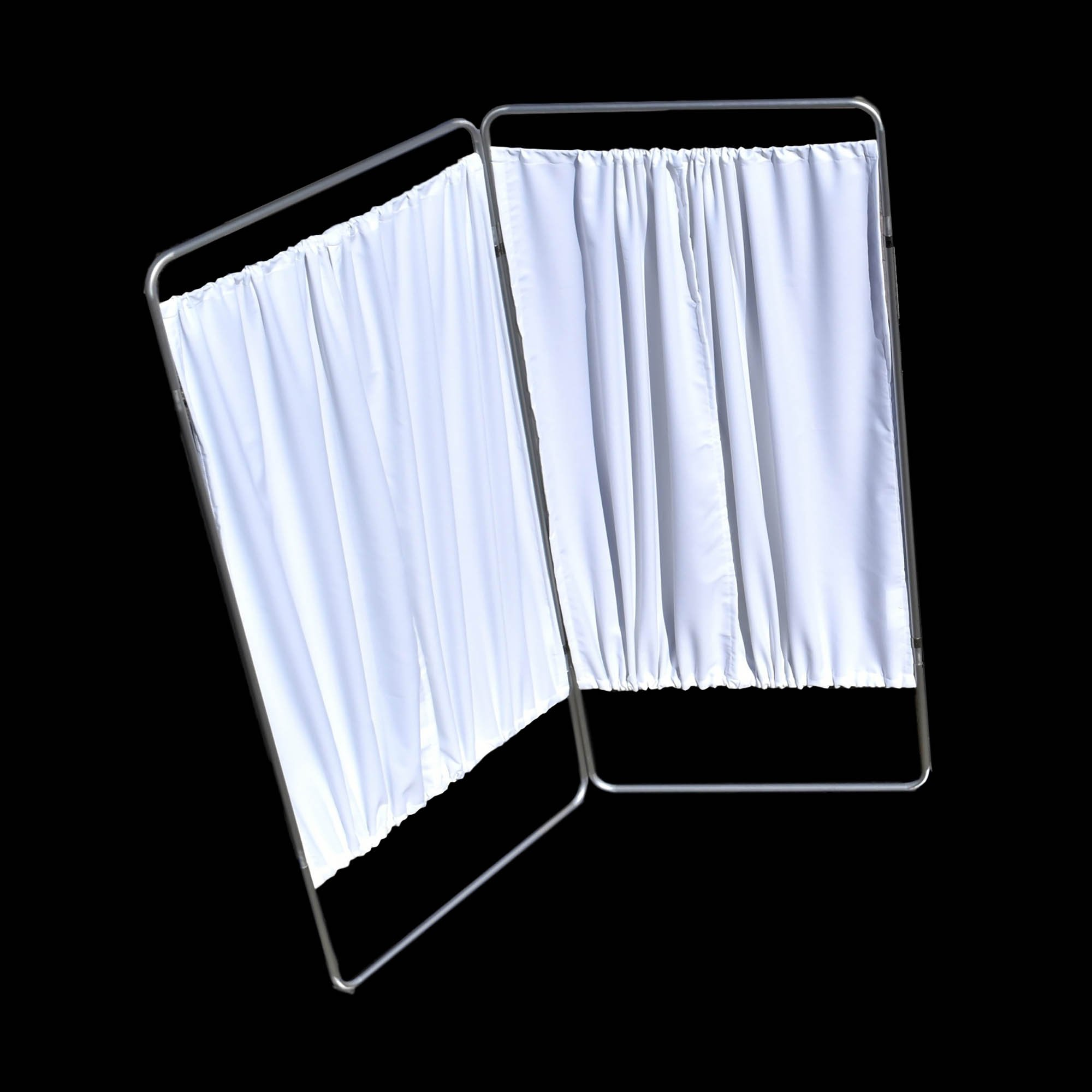 King Economy Privacy Screen with U-Hinge and White Vinyl Panel - 2 Section