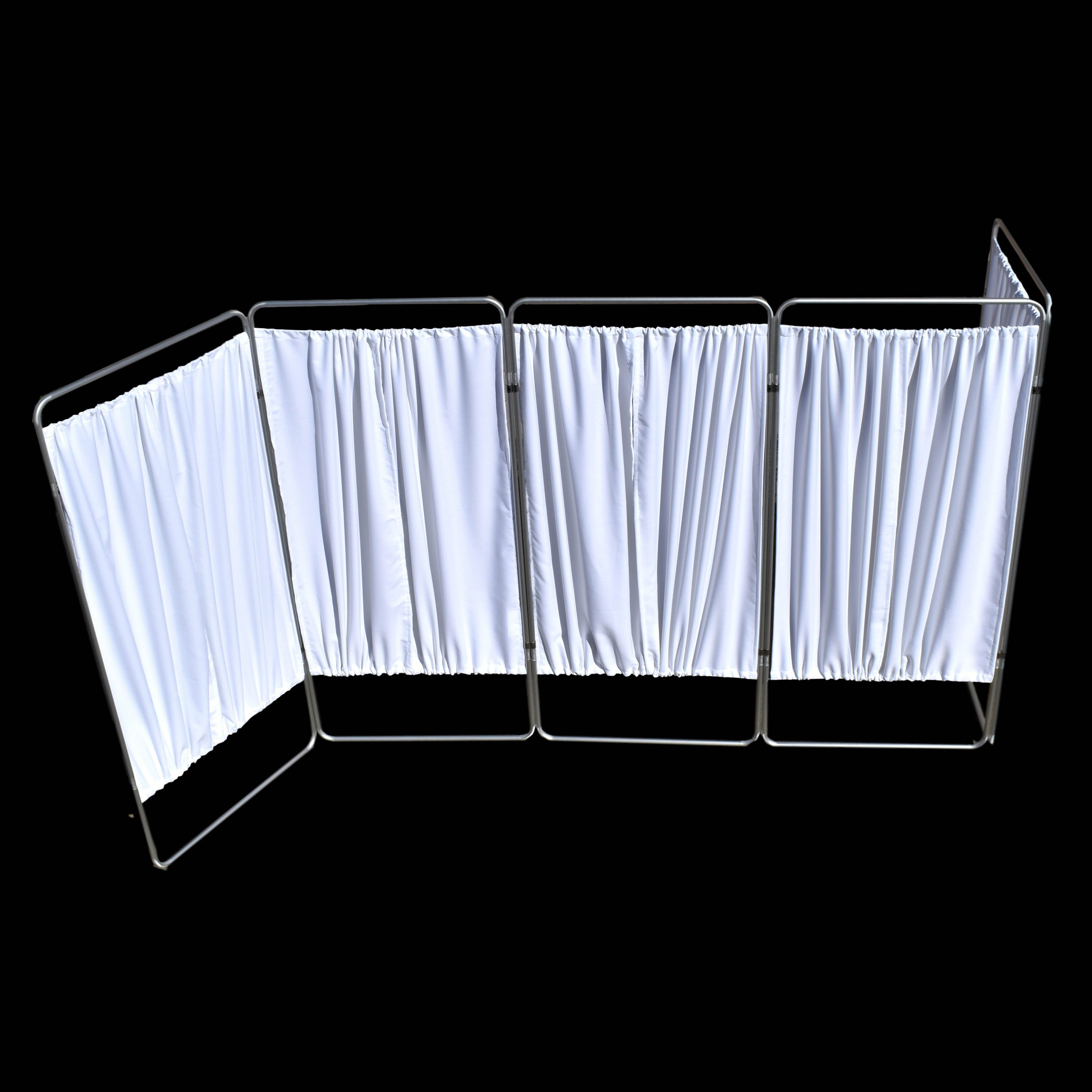 King Economy Privacy Screen with U-Hinge and White Vinyl Panel - 5 Section