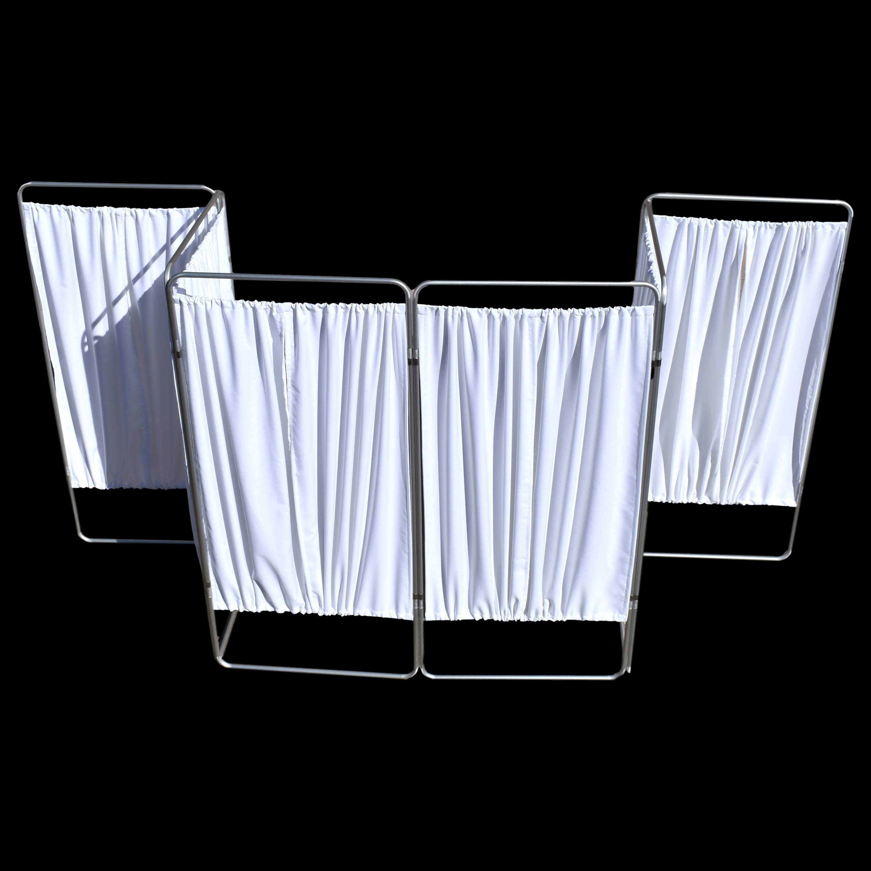 King Economy Privacy Screen with U-Hinge and White Vinyl Panel - 6 Section