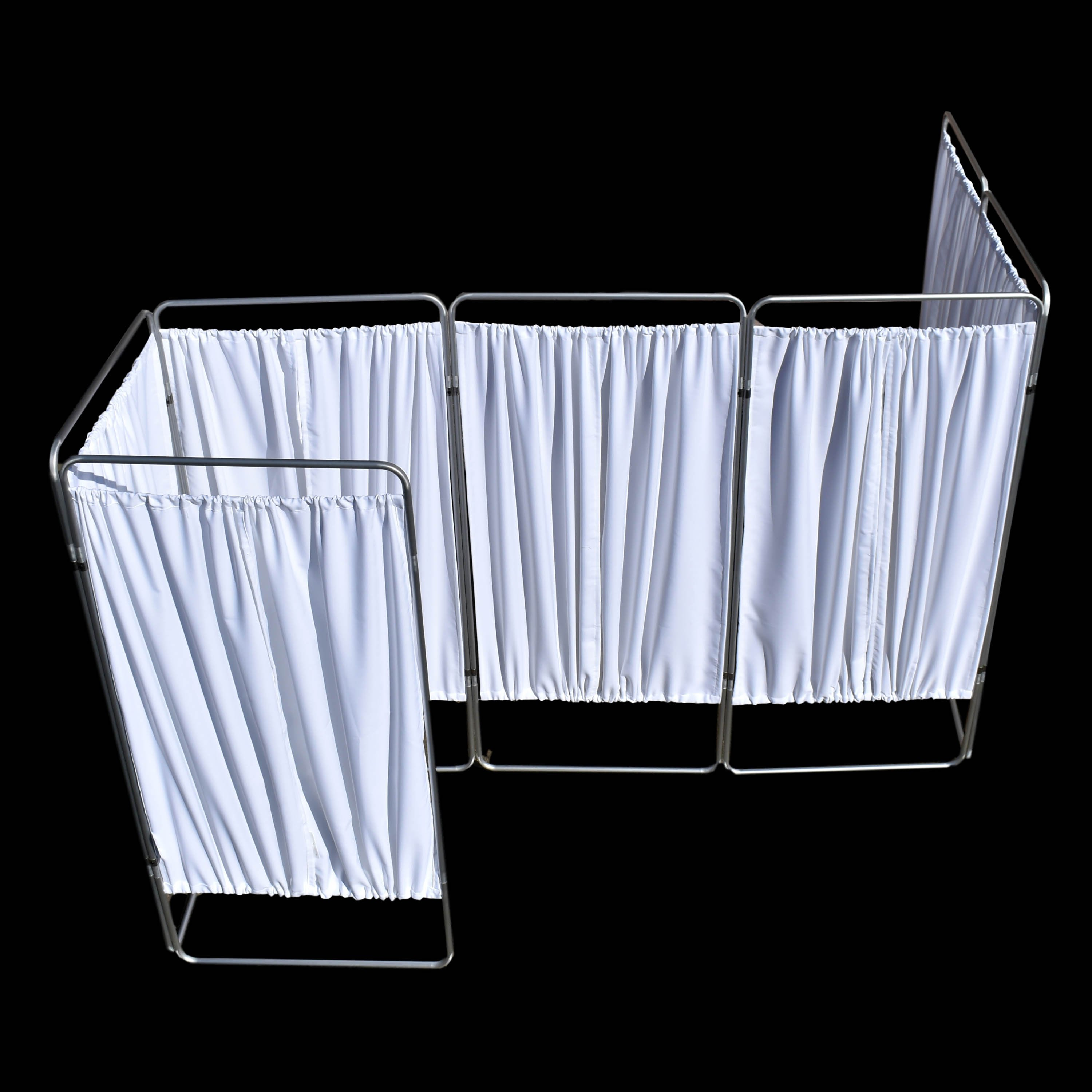 King Economy Privacy Screen with U-Hinge and White Vinyl Panel - 7 Section