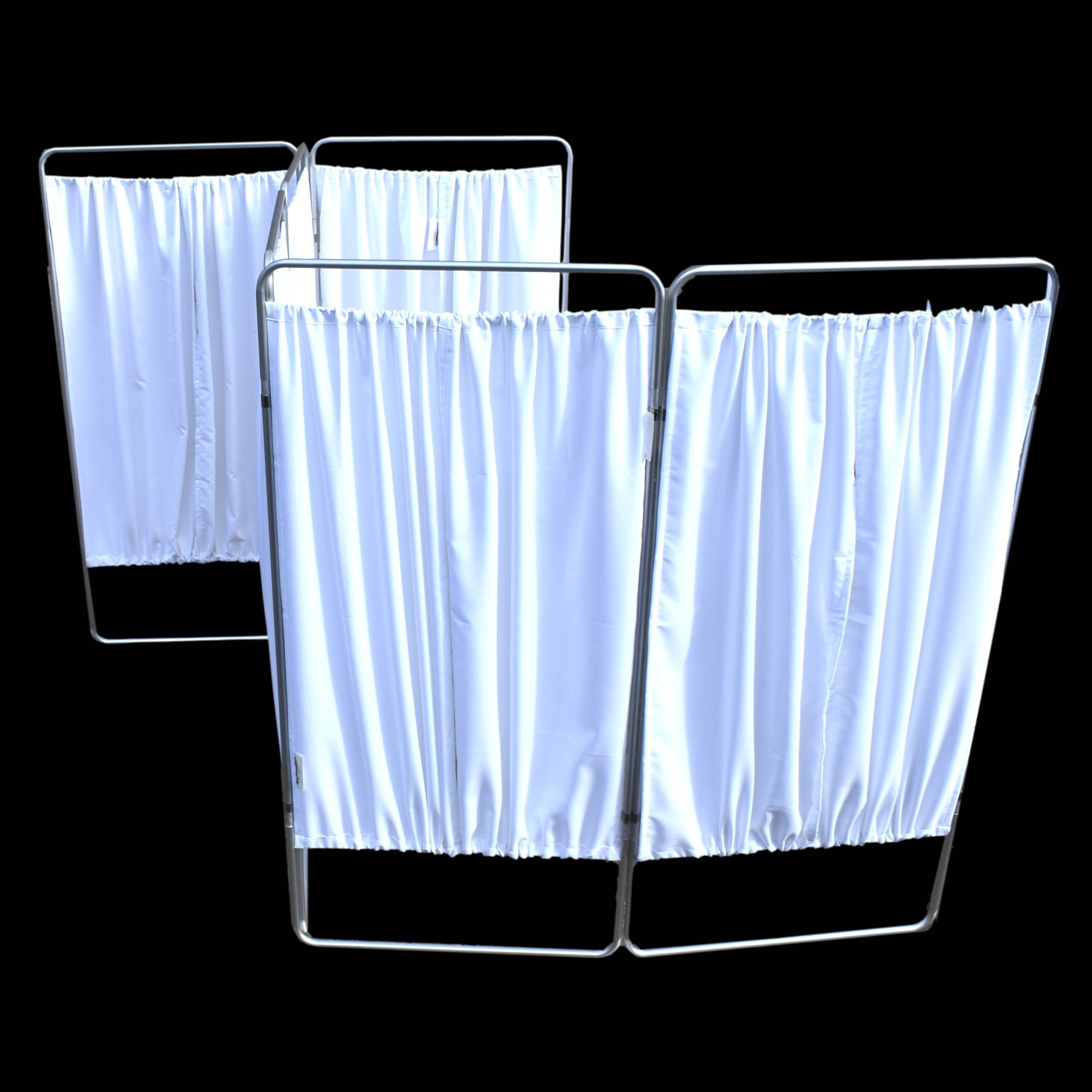King Economy Privacy Screen with T-Hinge and White Vinyl Panel - 6 Section