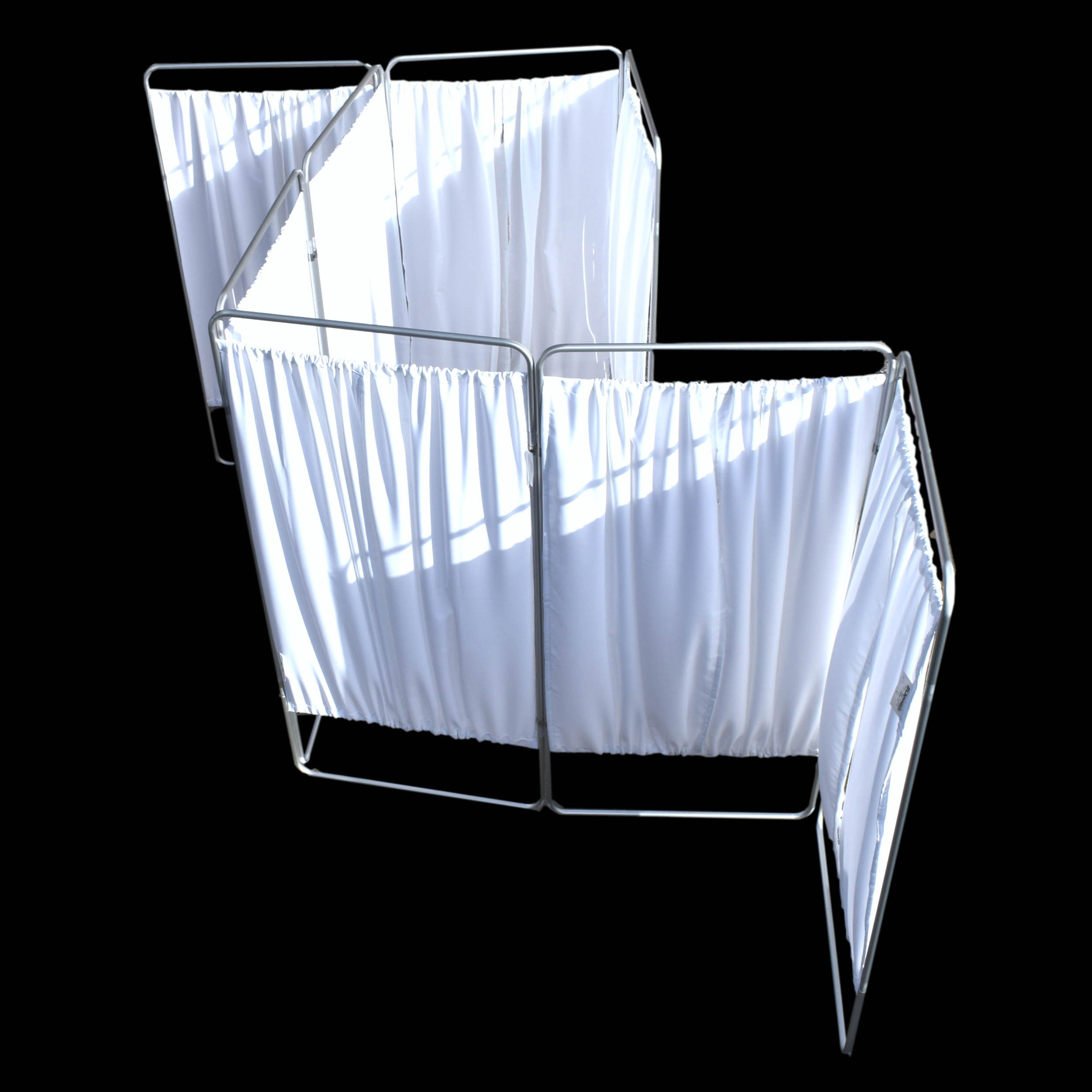 King Economy Privacy Screen with T-Hinge and White Vinyl Panel - 8 Section