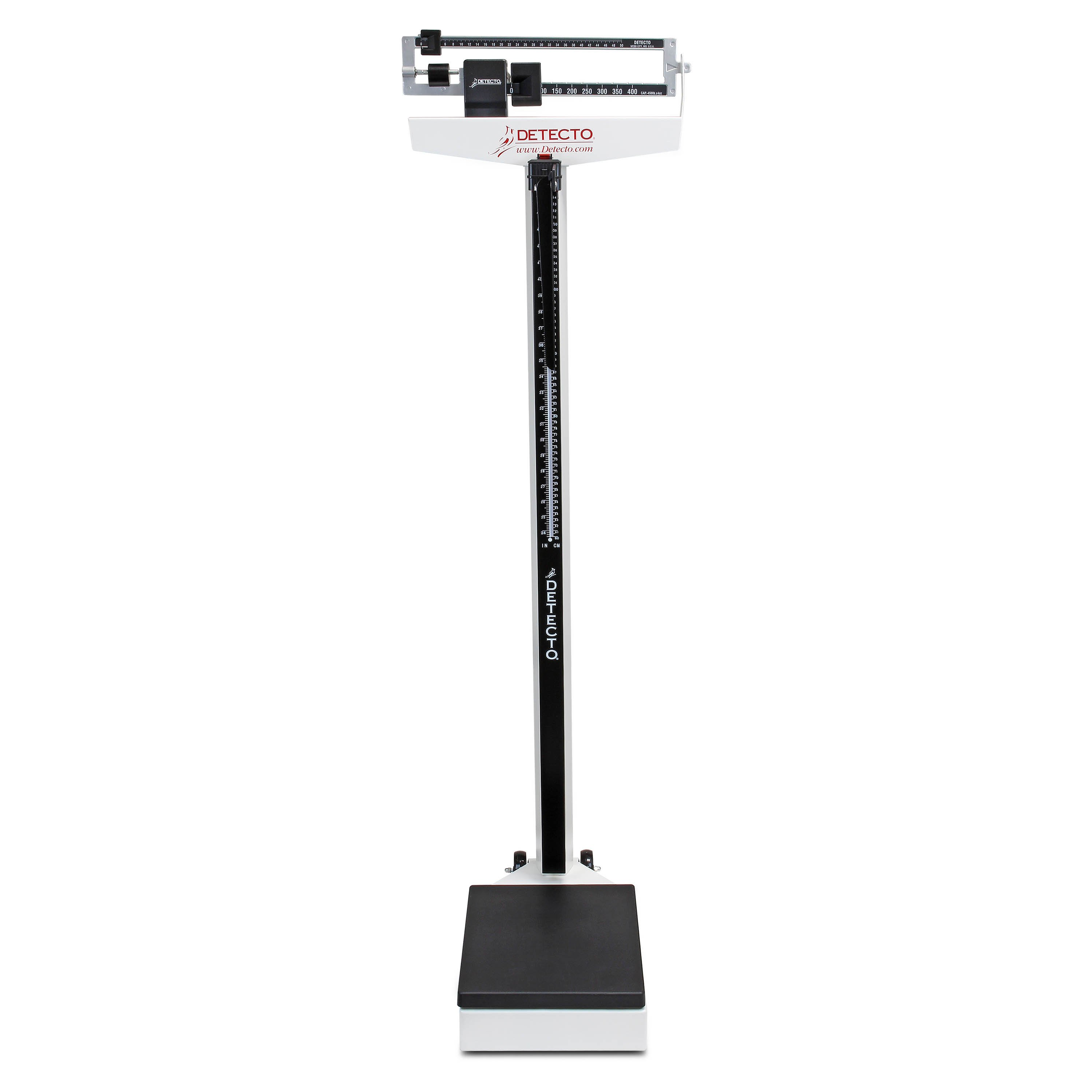 Mechanical Eye-Level Scale - White - Lb Display - Capacity 450 lb - With Height Rod and Wheels