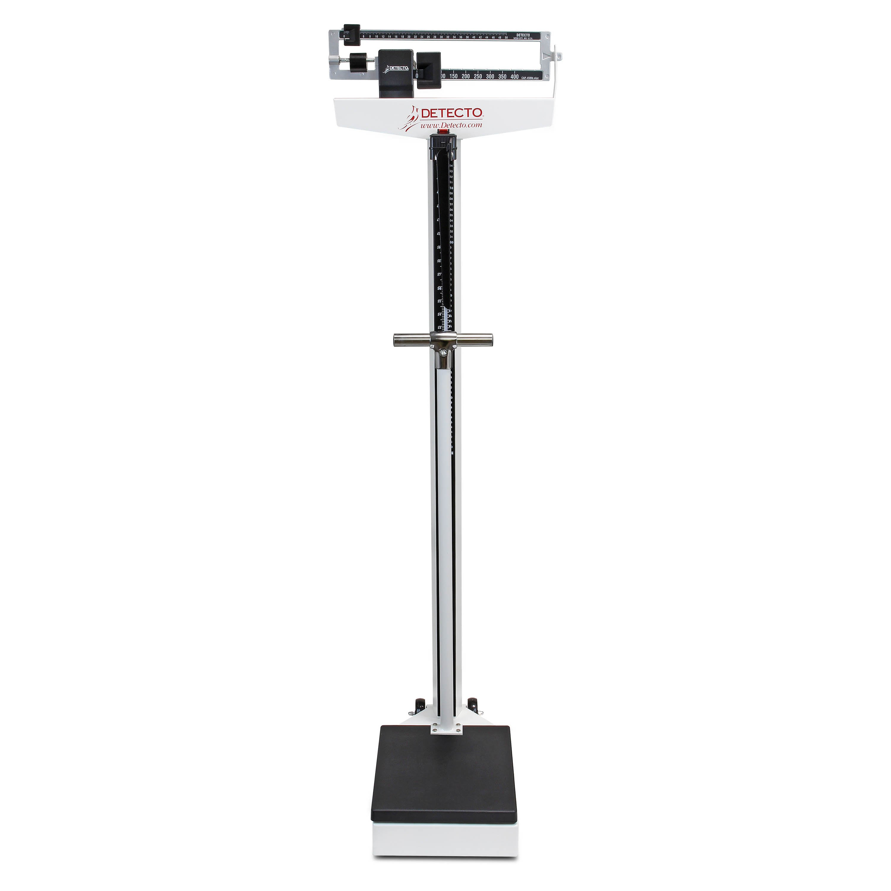 Mechanical Eye-Level Scale - White - Lb Display - Capacity 450 lb - With Height Rod, Handpost and Wheels