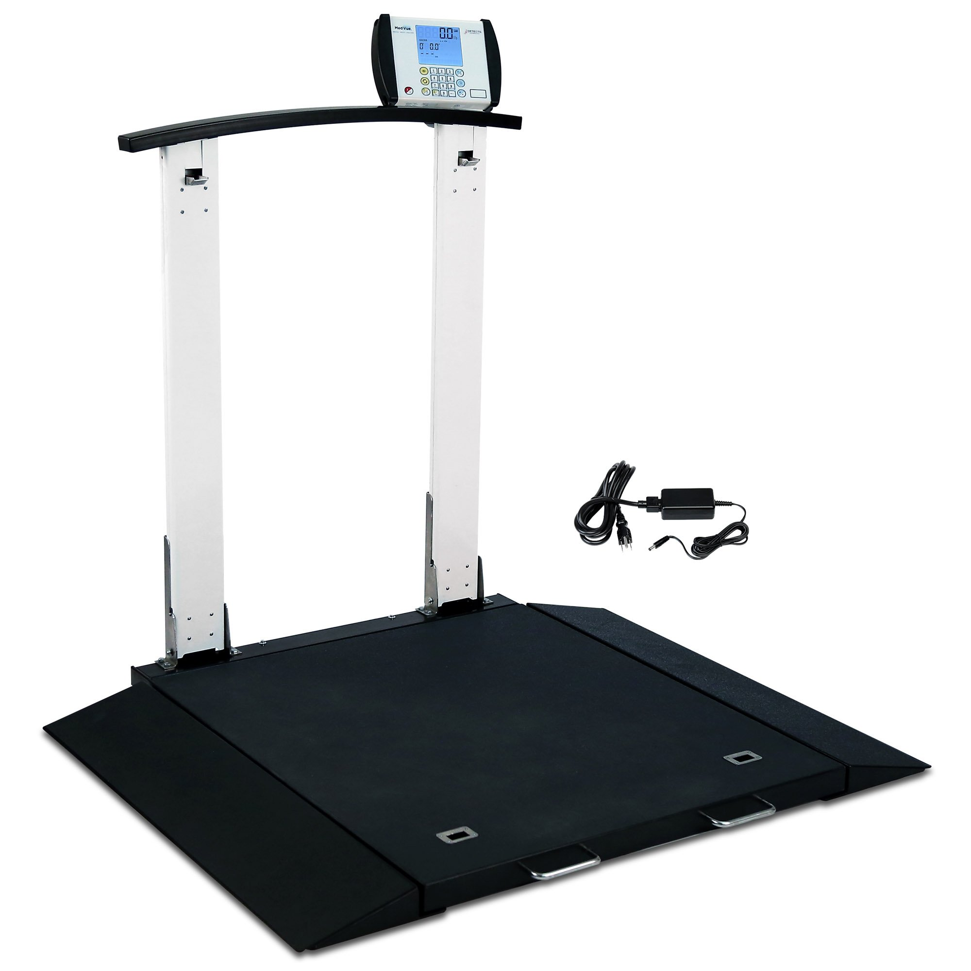 Folding Portable Digital Wheelchair Scale with Handrail and AC Adapter