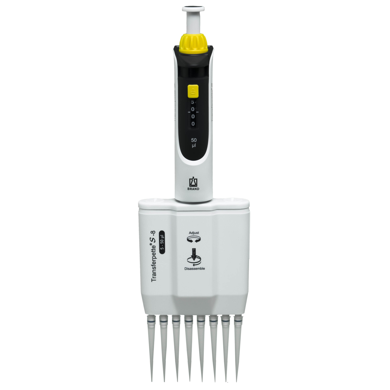 BrandTech Transferpette S-8 Channel Pipette Model M8-50 - Adjustable Volume 5-50uL