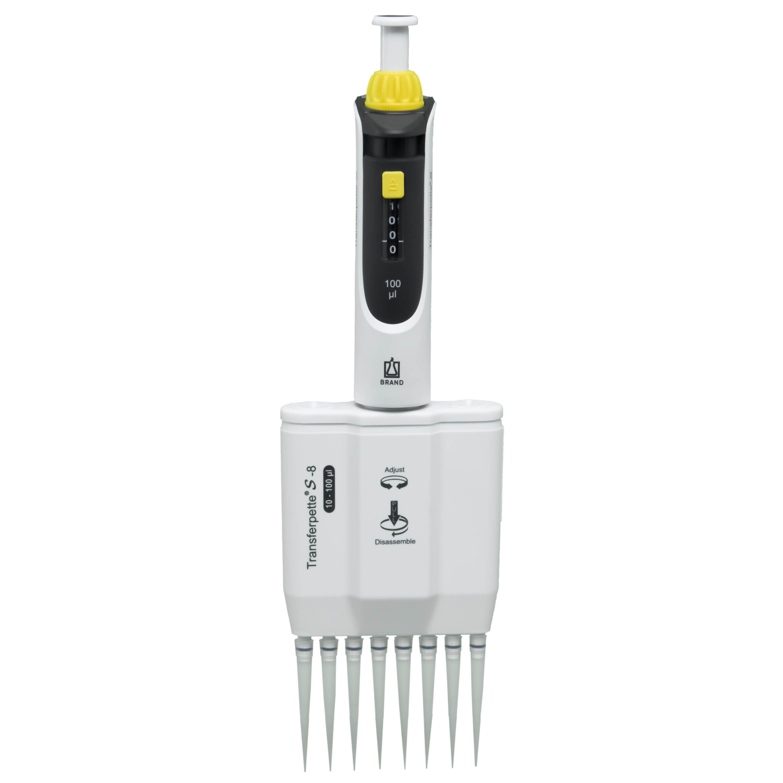 BrandTech Transferpette S-8 Channel Pipette Model M8-100 - Adjustable Volume 10-100uL