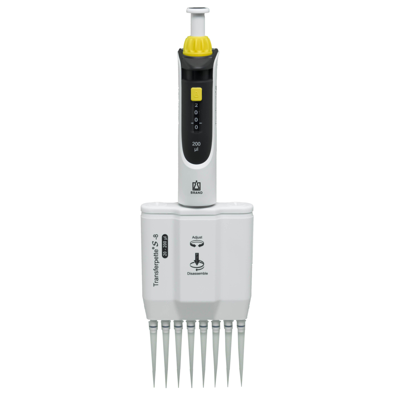BrandTech Transferpette S-8 Channel Pipette Model M8-200 - Adjustable Volume 20-200uL