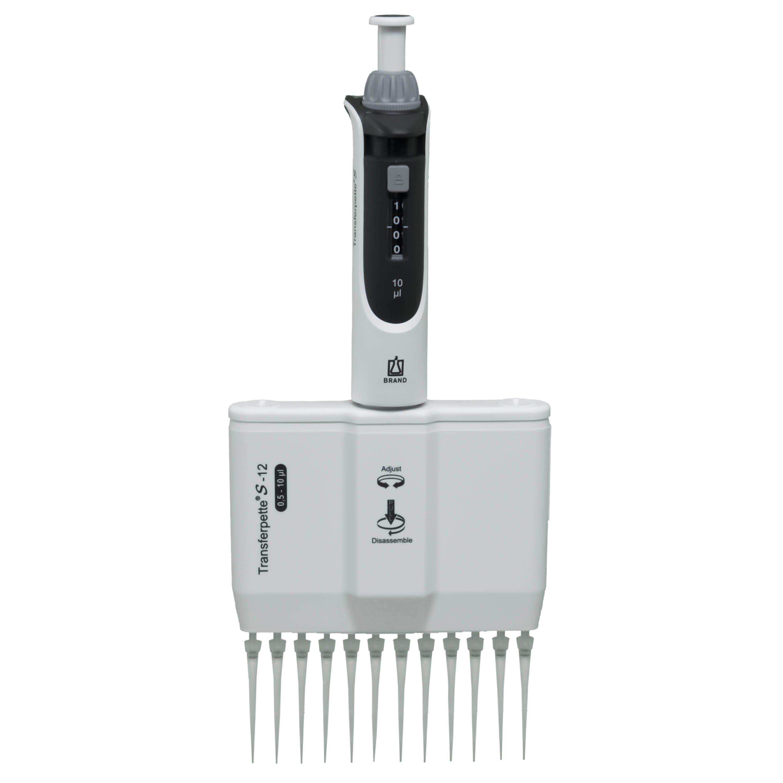 BrandTech Transferpette S-12 Channel Pipette Model M12-10 - Adjustable Volume 0.5-10uL