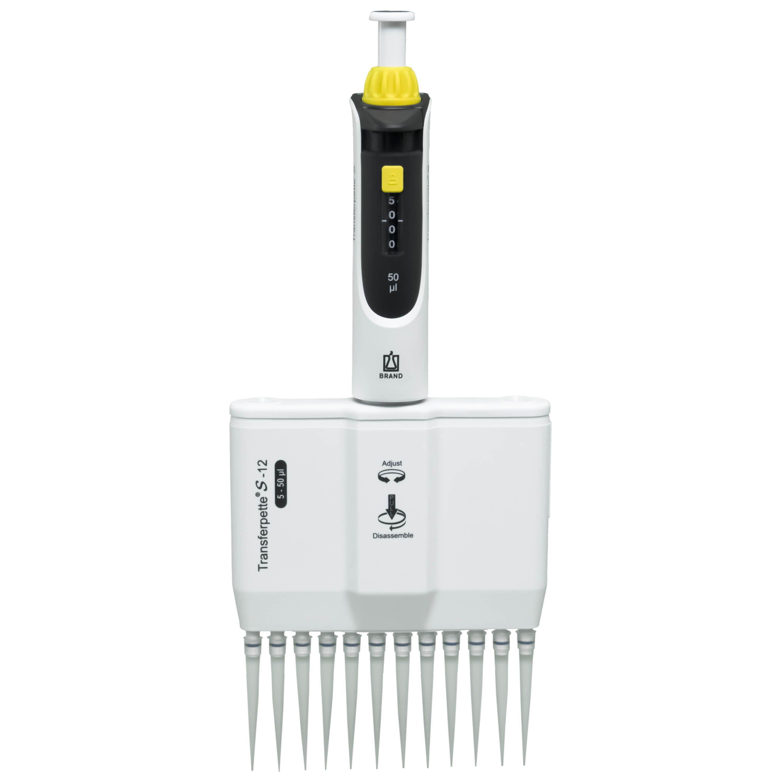 BrandTech Transferpette S-12 Channel Pipette Model M12-50 - Adjustable Volume 5-50uL