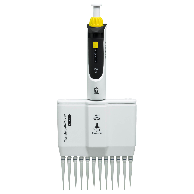 BrandTech Transferpette S-12 Channel Pipette Model M12-100 - Adjustable Volume 10-100uL