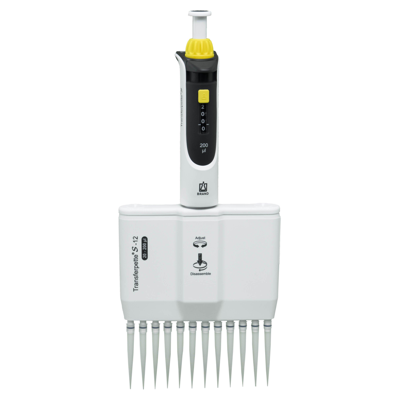 BrandTech Transferpette S-12 Channel Pipette Model M12-200 - Adjustable Volume 20-200uL