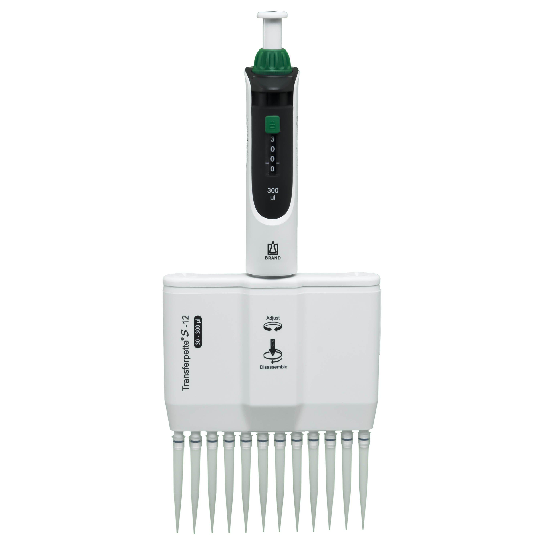 BrandTech Transferpette S-12 Channel Pipette Model M12-300 - Adjustable Volume 30-300uL