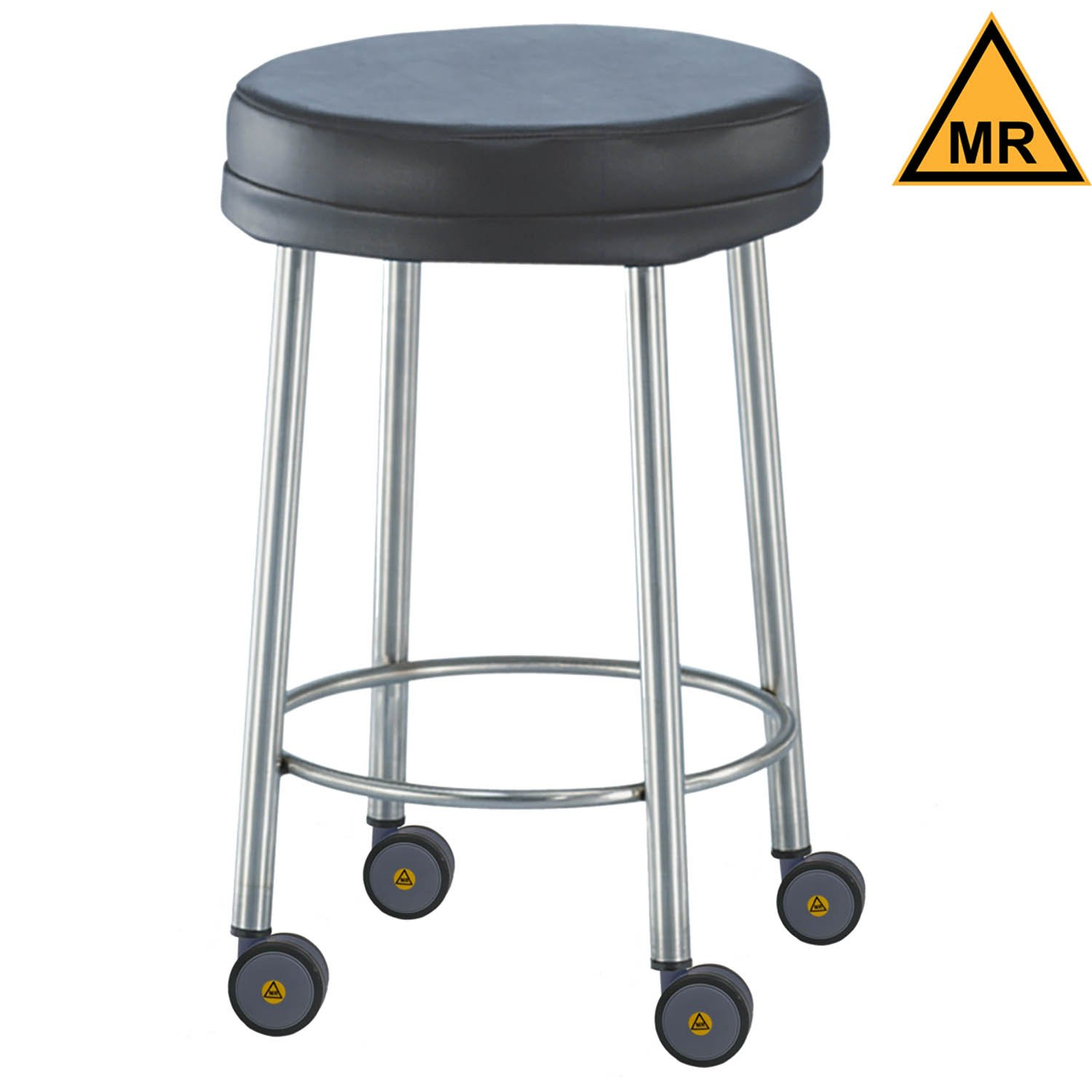 Non-Magnetic Padded Stool with Swivel Casters - 23