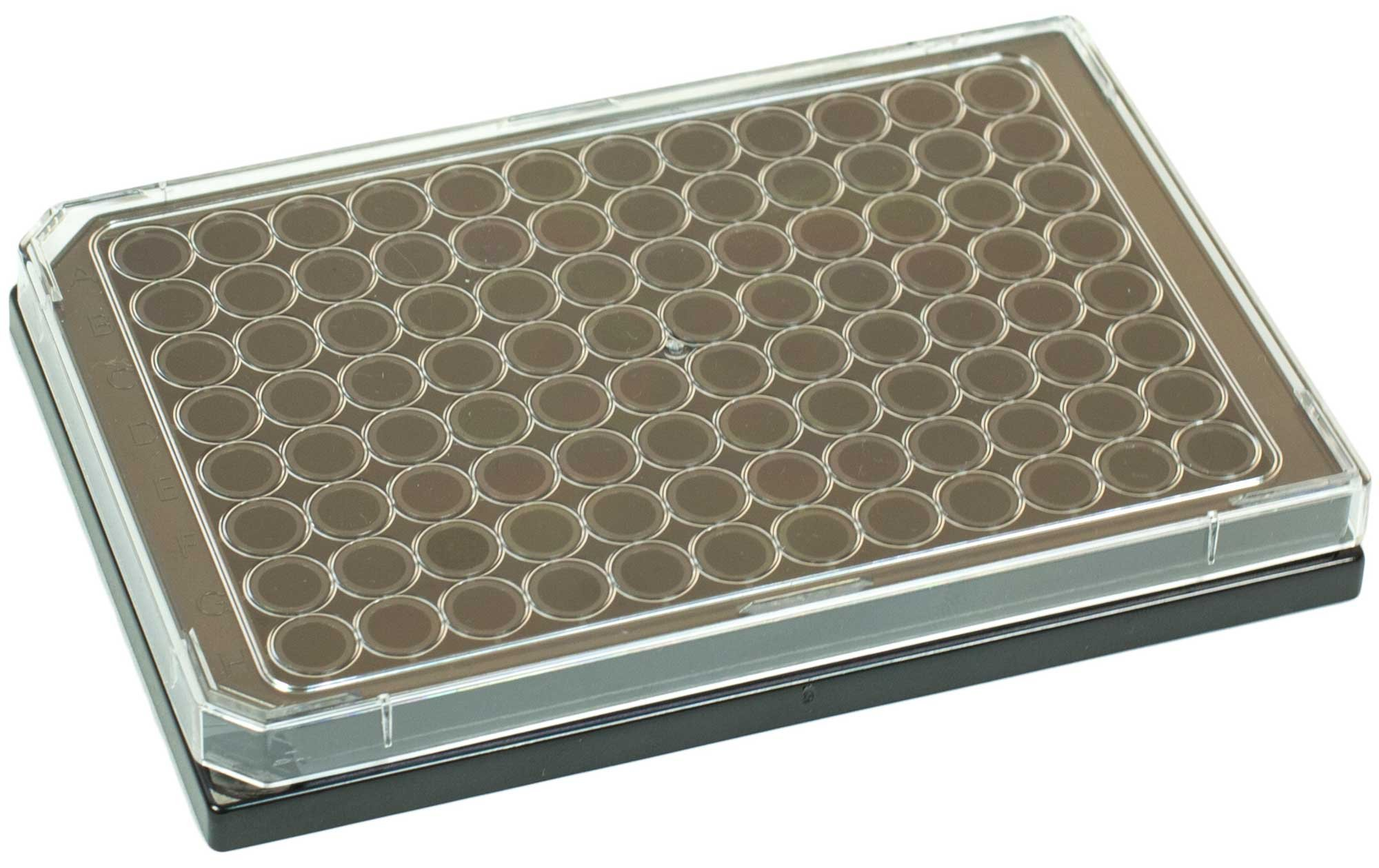 BRANDplates pureGrade S Non-Treated Sterile Surface 96-Well Plate - Black, Transparent F-Bottom