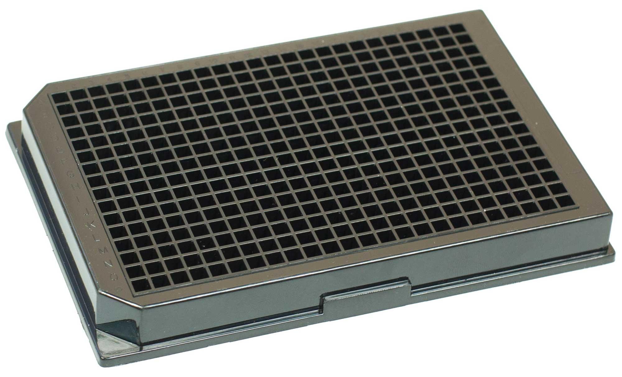 BRANDplates pureGrade S Non-Treated Sterile Surface 384-Well Plate - Black, Transparent F-Bottom