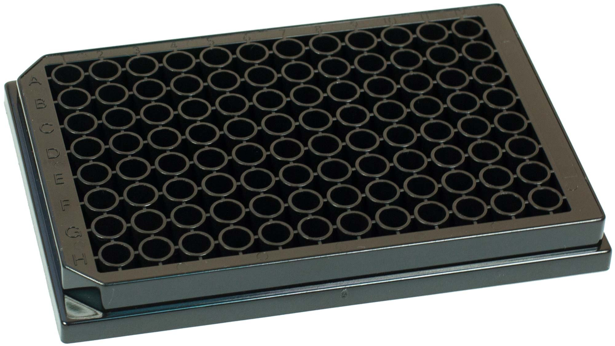 BRANDplates immunoGrade Non-Sterile Treated Surface 96-Well Plate - Black, Transparent F-Bottom