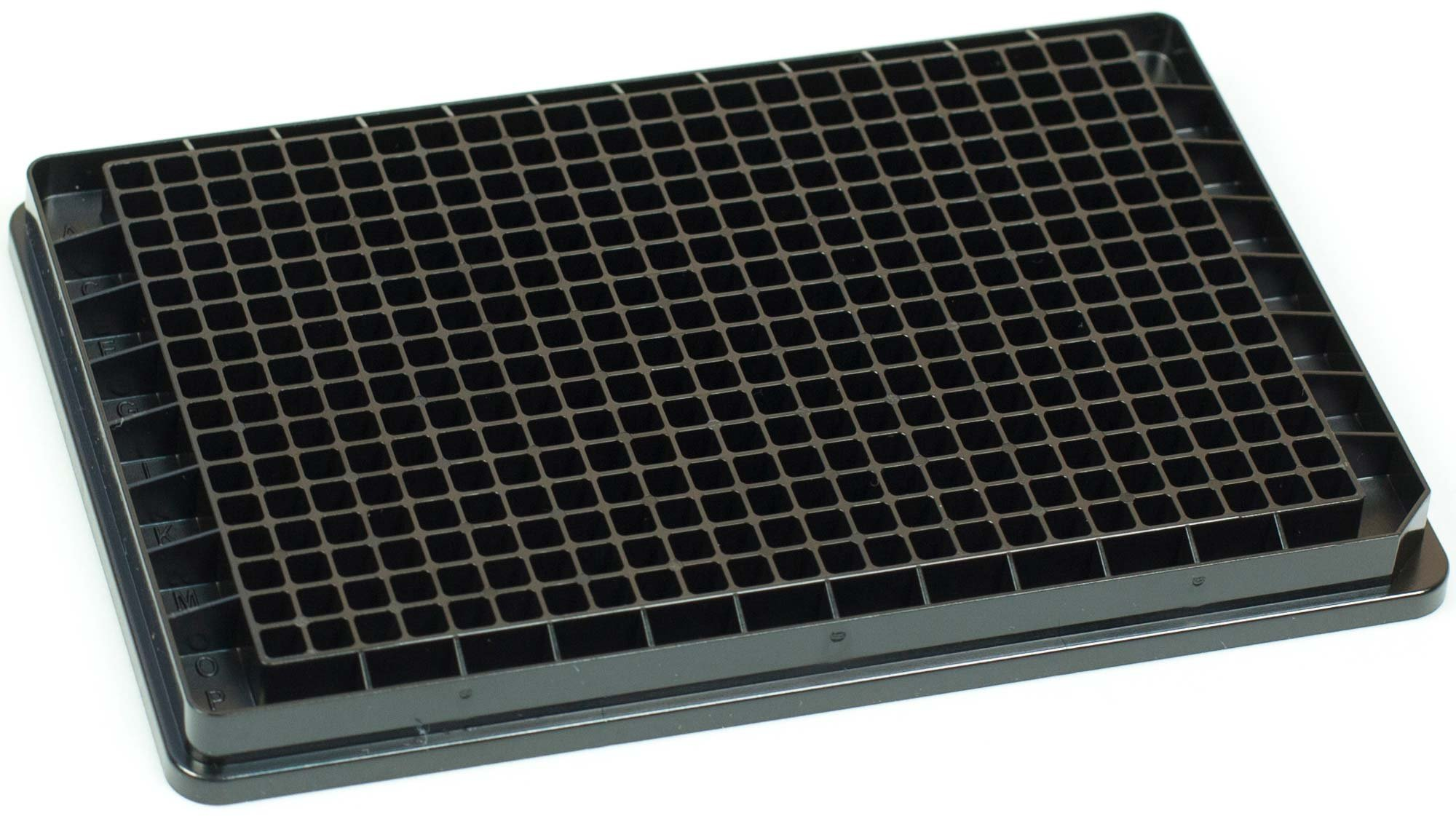 BRANDplates hydroGrade Non-Sterile Treated Surface 384-Well Plate - Black, F-Bottom