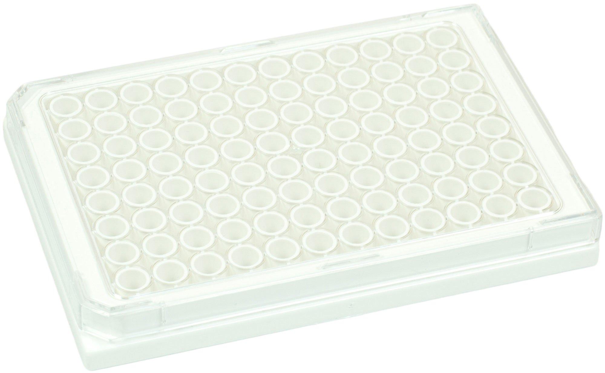 BRANDplates cellGrade Premium Treated Sterile Surface 96-Well Plate - White, Transparent F-Bottom
