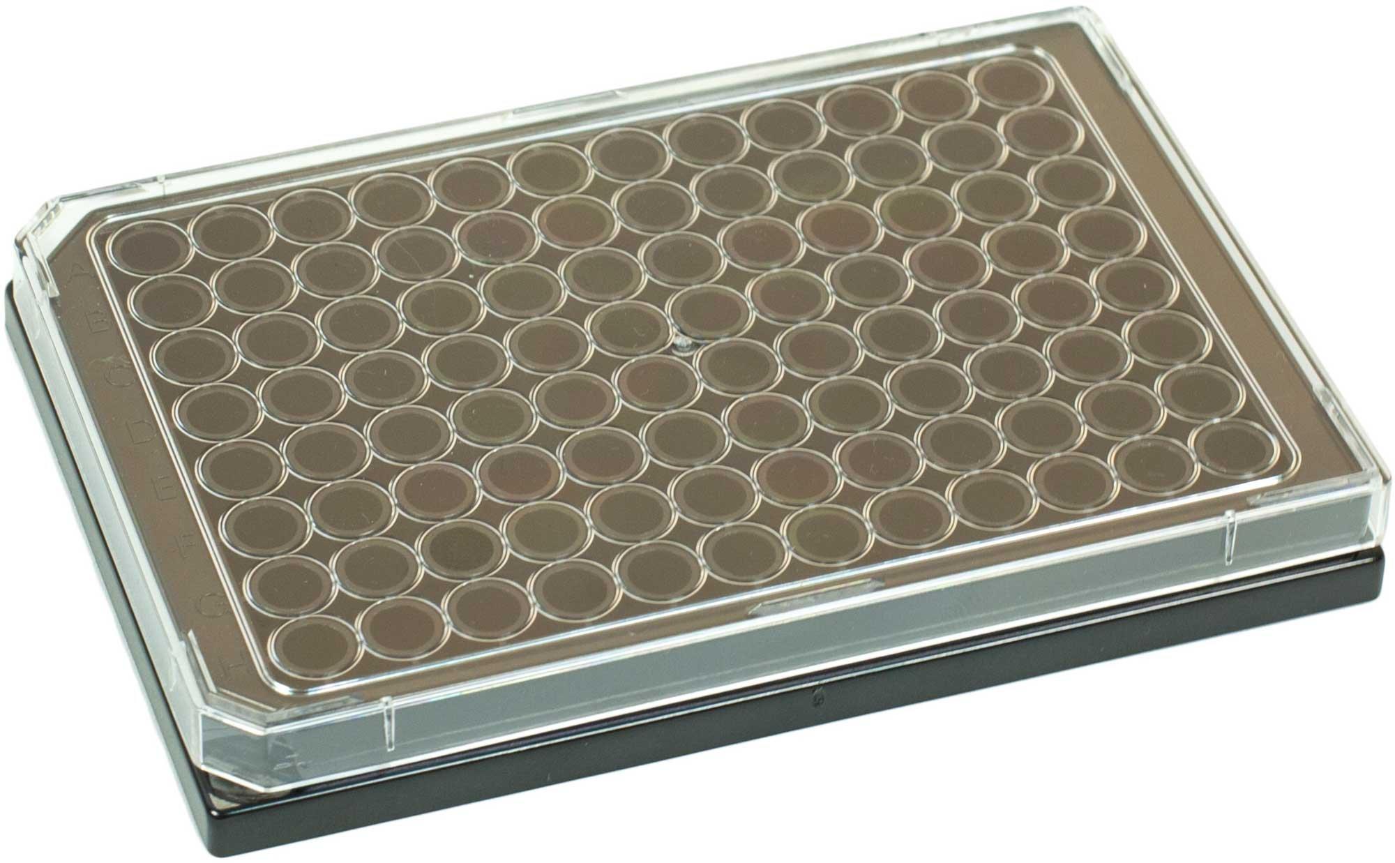 BRANDplates cellGrade Premium Treated Sterile Surface 96-Well Plate - Black, Transparent F-Bottom