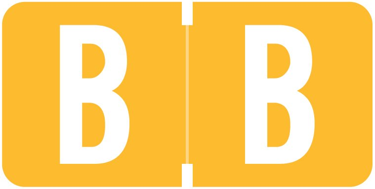 Tab Products 1278 Match Alpha Roll Labels - Letter B - Light Orange Label