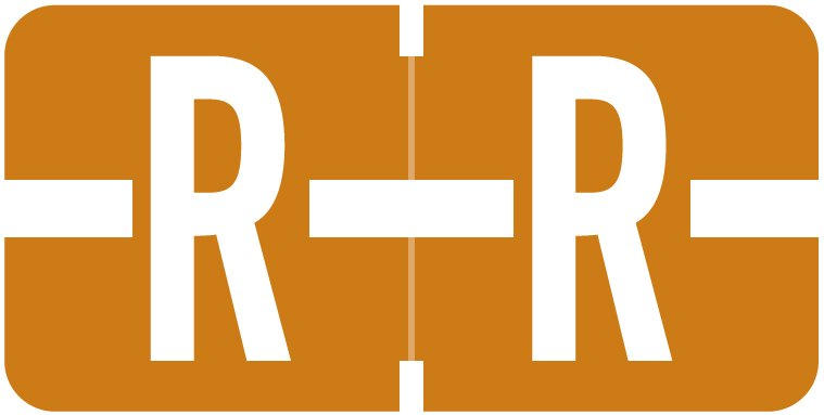 Tab Products 1278 Match Alpha Roll Labels - Letter R - Brown Label