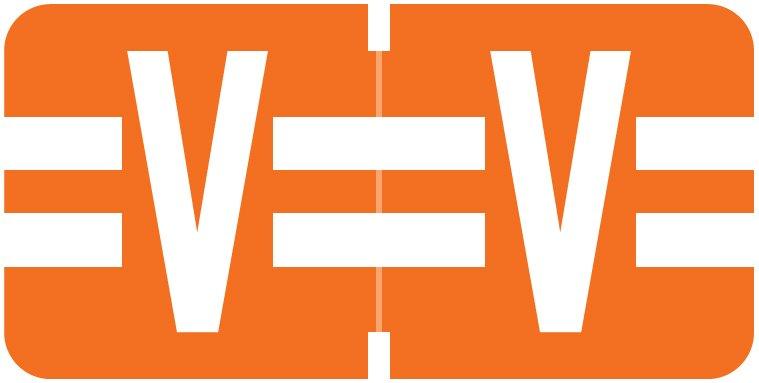 Tab Products 1278 Match Alpha Roll Labels - Letter V - Dark Orange Label