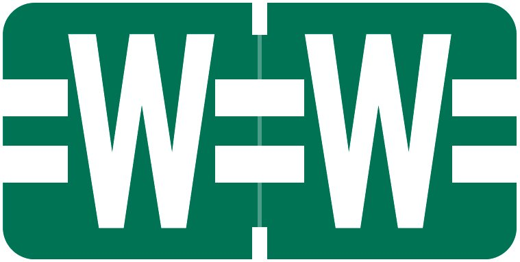 Tab Products 1278 Match Alpha Roll Labels - Letter W - Dark Green Label