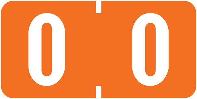Tab Products 1280 Match Numeric Color Roll Labels - Number 0 - Orange