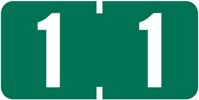 Tab Products 1280 Match Numeric Color Roll Labels - Number 1 - Dark Green