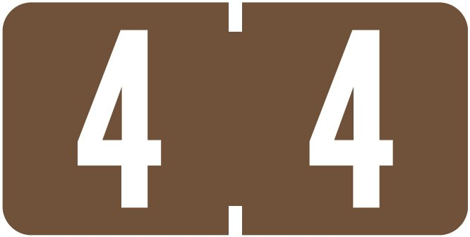 Tab Products 1280 Match Numeric Color Roll Labels - Number 4 - Brown
