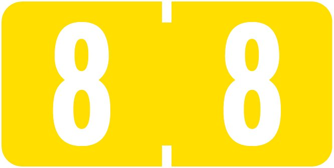 Tab Products 1280 Match Numeric Color Roll Labels - Number 8 - Yellow