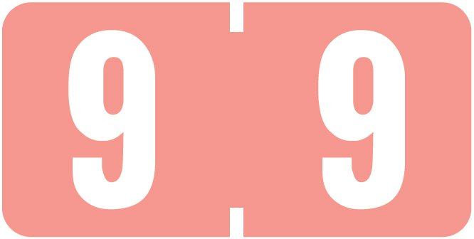 Tab Products 1280 Match Numeric Color Roll Labels - Number 9 - Pink