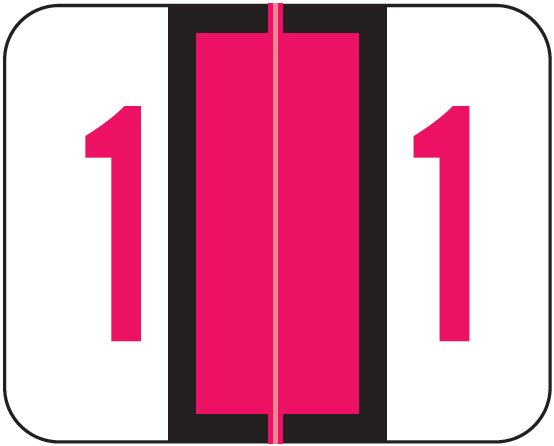 Tab Products 1282 Match Numeric Color Roll Labels - Number 1 - Red