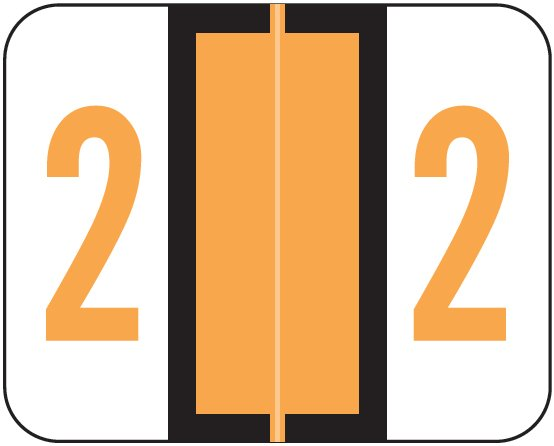 Tab Products 1282 Match Numeric Color Roll Labels - Number 2 - Light Orange