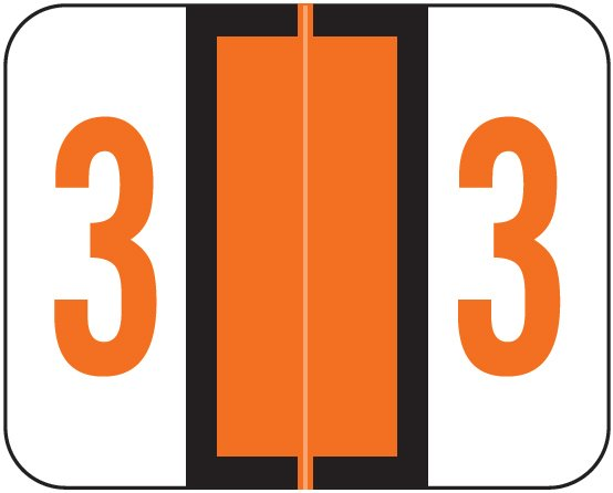 Tab Products 1282 Match Numeric Color Roll Labels - Number 3 - Dark Orange