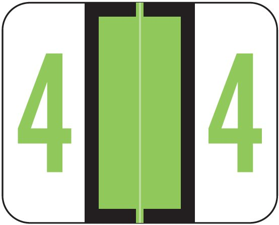 Tab Products 1282 Match Numeric Color Roll Labels - Number 4 - Light Green