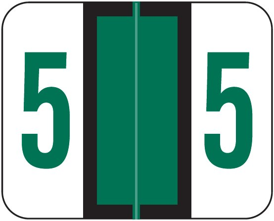 Tab Products 1282 Match Numeric Color Roll Labels - Number 5 - Dark Green