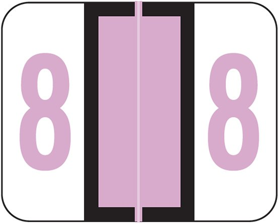 Tab Products 1282 Match Numeric Color Roll Labels - Number 8 - Lilac