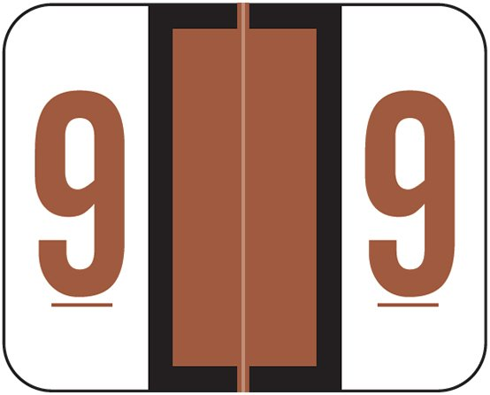 Tab Products 1282 Match Numeric Color Roll Labels - Number 9 - Brown