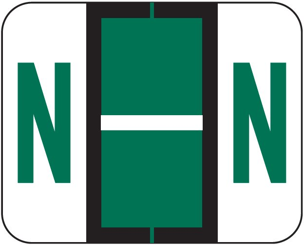 Tab Products 1283 Match Alpha Roll Labels - Letter N - Dark Green