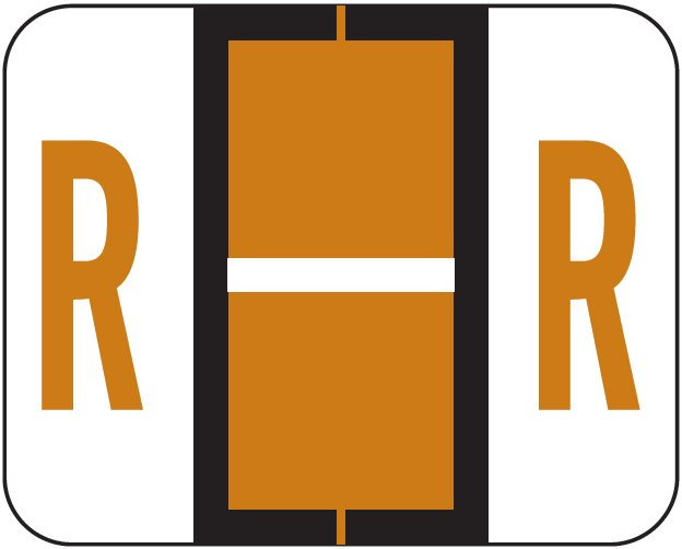Tab Products 1283 Match Alpha Roll Labels - Letter R - Brown
