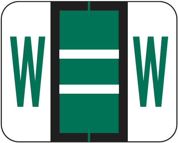 Tab Products 1283 Match Alpha Roll Labels - Letter W - Dark Green