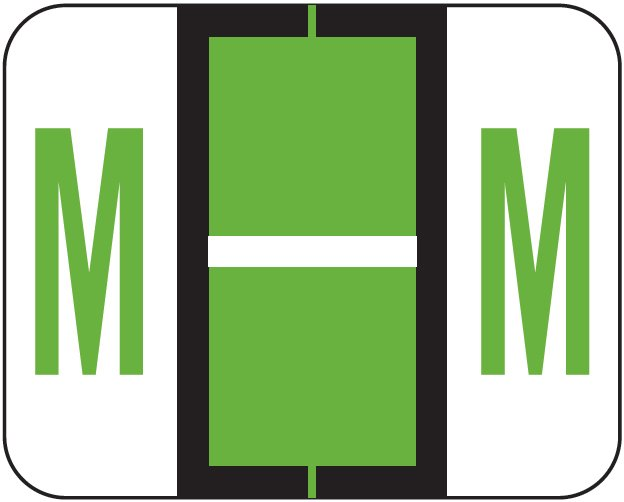 Tab Products 1286 Match Alpha Sheet Labels - Letter M - Light Green