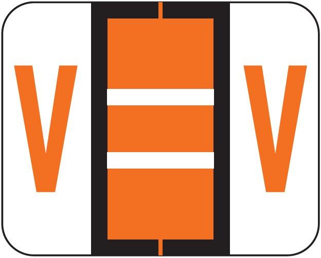 Tab Products 1286 Match Alpha Sheet Labels - Letter V - Dark Orange